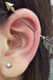 Heart Daith Ear Piercing Ideas for Women Industrial Arrow Barbell Scaffold Earring -  Ideas únicas para perforar las orejas para las mujeres - www.MyBodiArt.com