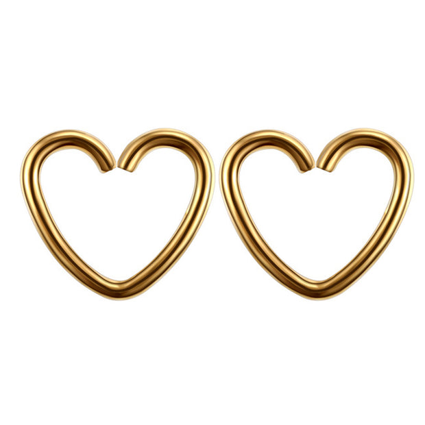 Soul Wired 16G Heart Ear Piercing in Gold for Rook Daith Cartilage Tragus Helix Pinna Auricle Conch Piercing Earring at MyBodiArt.com