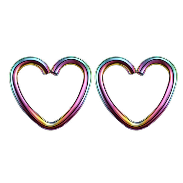 Soul Wired 16G Heart Ear Piercing in Rainbow for Rook Daith Cartilage Tragus Helix Pinna Auricle Conch Piercing Earring at MyBodiArt.com