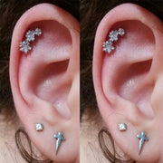 Triple Star Cartilage Helix Ear Piercing Jewelry Ideas for Women - www.MyBodiArt.com