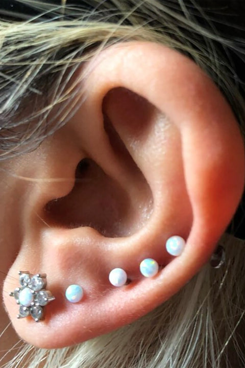 Multiple Ear Lobe Piercing Jewelry Ideas - Opal Ball Earring Stud 16G for Cartilage Helix Conch - www.MyBodiArt.com #piercings