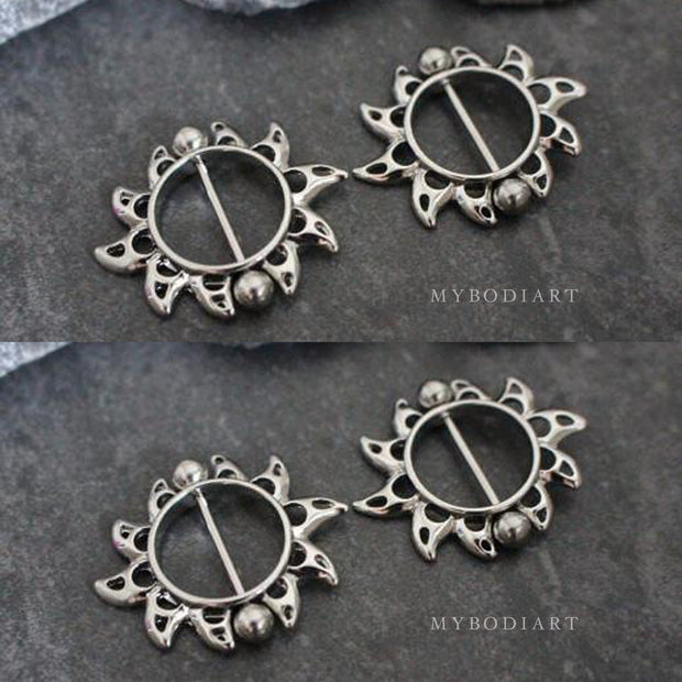 Unique Sun Nipple Piercing Jewelry Barbell in Silver 14G - www.MyBodiArt.com