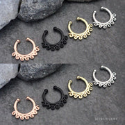 Surf Wave Fake Septum Piercing Jewelry Rings - www.MyBodiArt.com