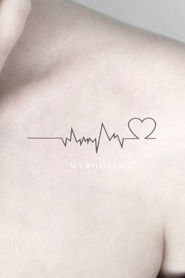 Unique Heartbeat Shoulder Tattoo Ideas for Women - Minimalist Simple Heart Arm Tat - www.MyBodiArt.com #tattoos