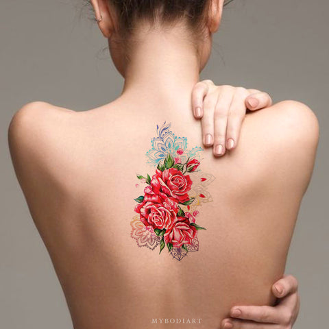 Unique Watercolor Rose Back Temporary Tattoo Ideas for Women -  Ideas de tatuaje de antebrazo rosa - www.MyBodiArt.com