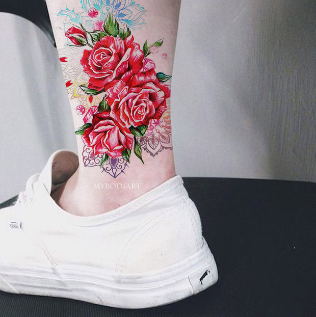 Unique Watercolor Rose Ankle Temporary Tattoo Ideas for Women -  Ideas de tatuaje de antebrazo rosa - www.MyBodiArt.com