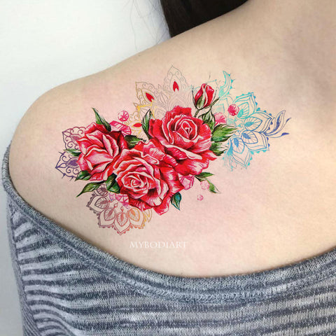 Tamiko Metallic Rose Mandala Temporary Tattoo
