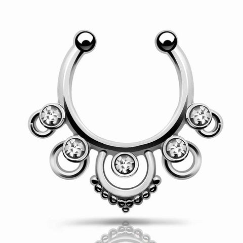 Tate Silver Septum Piercing Jewelry 16G at MyBodiArt.com