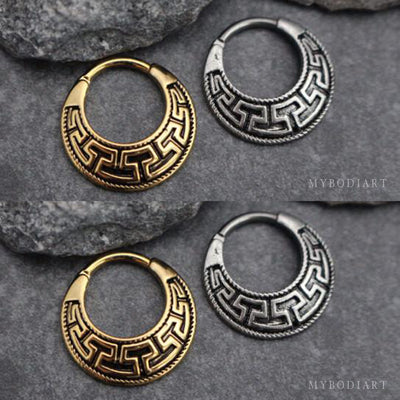 Tribal Septum Piercing Jewelry Nose Ring in Gold or Silver - www.MyBodiArt.com