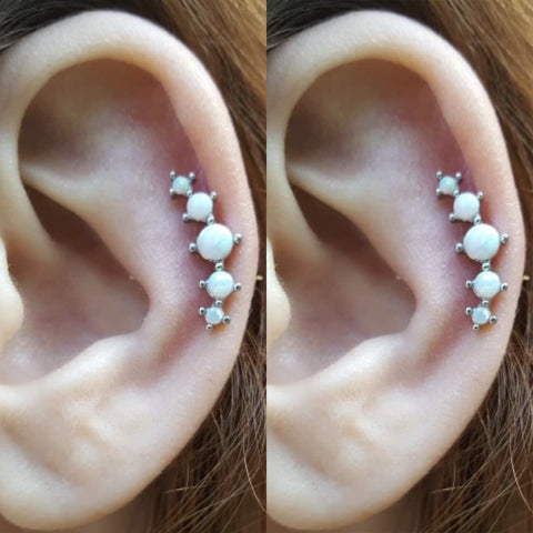 Cute 5 Opal Cartilage Helix Ear Piercing Jewelry Ideas for Women - www.MyBodiArt.com