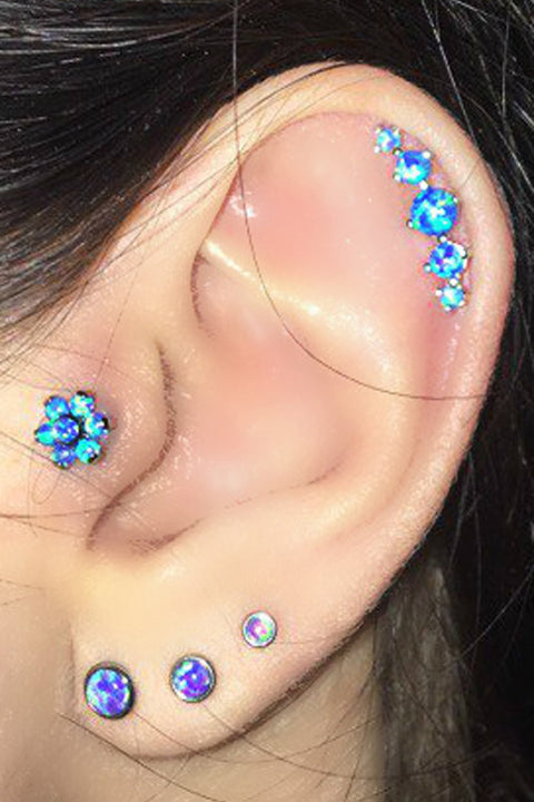 Multiple Blue Opal Unique Edgy 5 Opal Cartilage Helix Ear Piercing Ideas Jewelry Stud Earring 16G - www.MyBodiArt.com