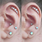 Unique Ear Piercing Ideas for Cartilage Conch Helix Tragus Opal Earring stud Jewelry 16G -  ideas de piercing de oreja - www.MyBodiArt.com