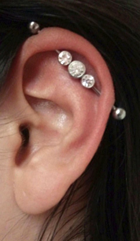 Triple Crystal Industrial Piercing Barbell Bar In Silver Mybodiart