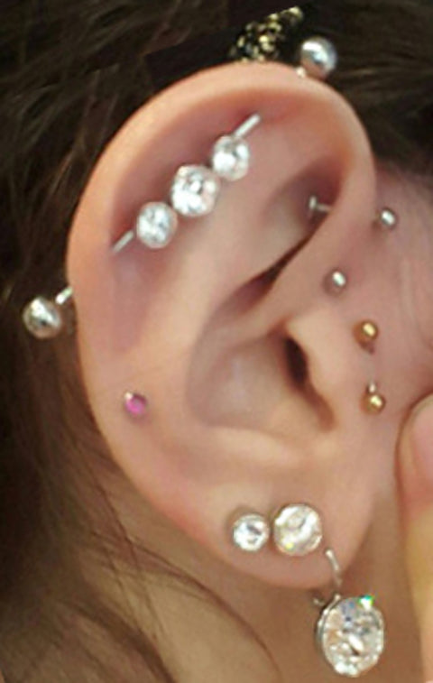 trendy ear piercing ideas industrial barbell double lobe earring triple forward helix studs tragus jewelry -  www.mybodiart.com
