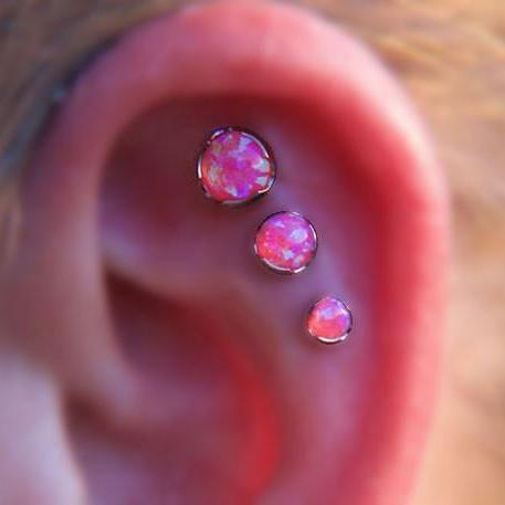 Fire Opal Triple Cartilage, Forward Helix, Tragus, Conch Ear Piercing Jewelry at MyBodiArt