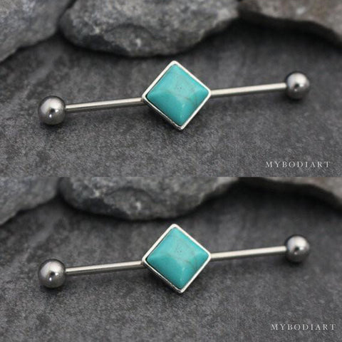 Turquoise Industrial Piercing Jewelry Scaffold Earring 14G Barbell at MyBodiArt