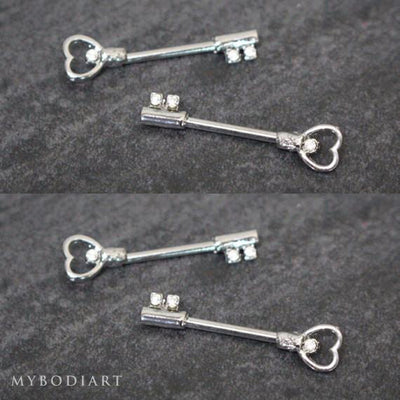 Heart Crystal Key Nipple Ring Piercing Jewelry 14G in Silver - www.MyBodiArt.com
