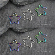 Cute Wired Star Ear Piercing Ideas for Cartilage, Daith, Rook Earrings - www.MyBodiArt.com