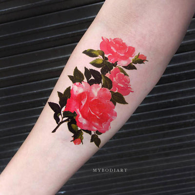 Beautiful Feminine Pink Floral Flower Forearm Temporary Tattoo Ideas for Women -  Ideas hermosas del tatuaje floral rosado de la flor para las mujeres - www.MyBodiArt.com