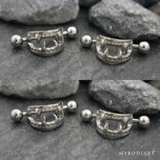 Vampire Bites Nipple Ring Body Piercing Jewelry in Silver 14G - www.MyBodiArt.com