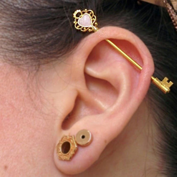 Key Industrial Piercing Barbell at MyBodiArt in Gold