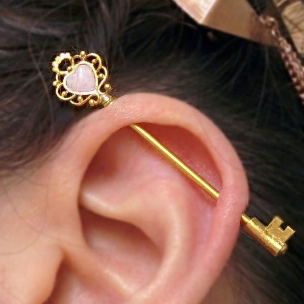 Opal Gold Key Industrial Ear Piercing Ideas Barbell Scaffold Earring - www.MyBodiArt.com