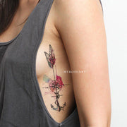 Unique Watercolor Anchor Feather Compass Rib Tattoo Ideas for Women -  Ideas hermosas del tatuaje de la pluma para las mujeres - www.MyBodiArt.com #tattoos