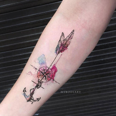 Unique Watercolor Anchor Feather Compass Forearm Tattoo Ideas for Women -  Ideas hermosas del tatuaje de la pluma para las mujeres - www.MyBodiArt.com #tattoos