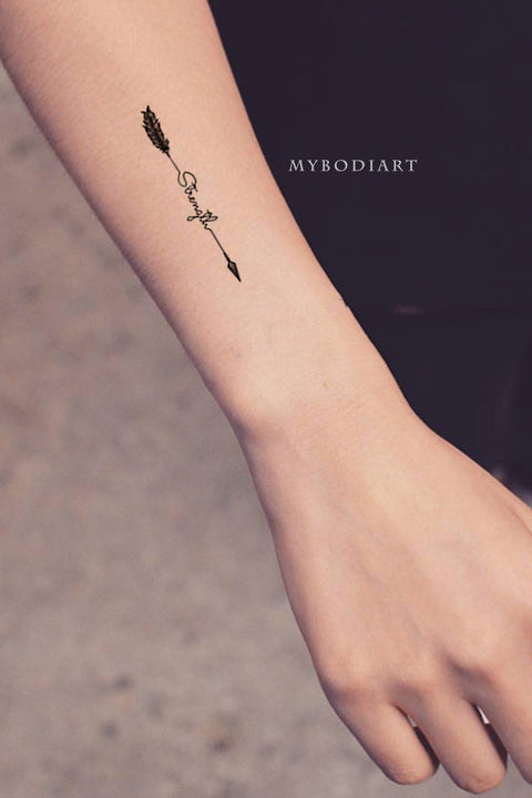 Strength Quote Script Feather Arrow Forearm Tattoo Ideas for Women - www.MyBodiArt.com #tattoos