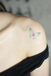 Beautiful Watercolor Blue Butterfly Shoulder Tattoo Ideas for Women - ideas del tatuaje del hombro de mariposa - www.MyBodiArt.com #tattoos