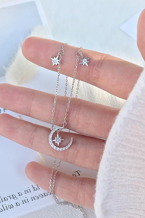 Cute Dainty Crystal Moon Star Floating Chain Necklace Choker - www.MyBodiArt.com #necklace