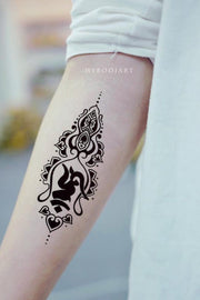 Tribal Boho Black Unalome Lotus Forearm Tattoo Ideas for Women -  ideas de tatuajes de antebrazo de loto para mujeres - www.MyBodiArt.com #tattoos