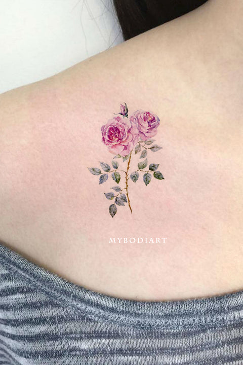 Traditional Pink Watercolor Rose Shoulder Tattoo Ideas for Women - Watercolor Vintage Floral Flower Small Side Tat -  pequeñas ideas de tatuajes de hombro de flores para mujeres - www.MyBodiArt.com # tattoos