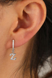 Kiera Alphabet Letter Crystal Pave Hoop Huggie Earrings
