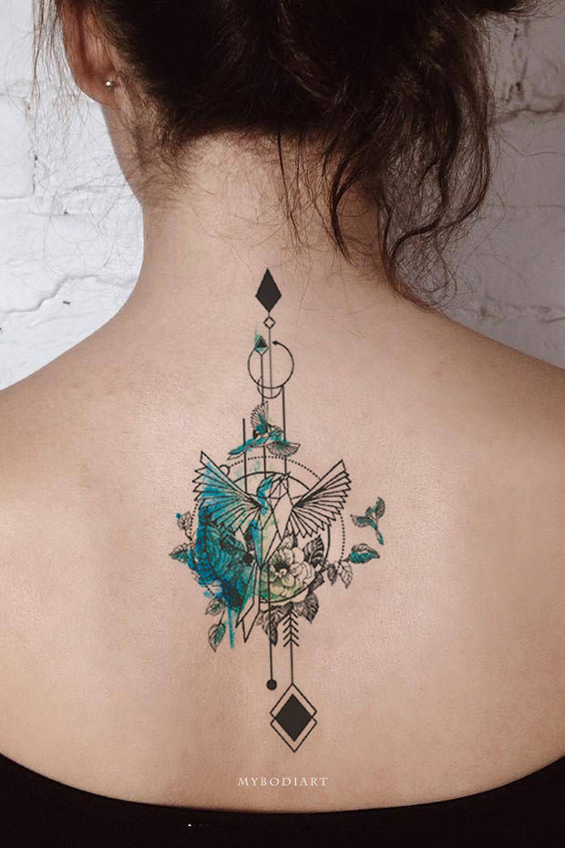 Beautiful Blue Watercolor Hummingbird Arrow Back Spine Tattoo Ideas for Women -  ideas de tatuajes de acuarela de aves para mujeres - www.MyBodiArt.con #tattoos