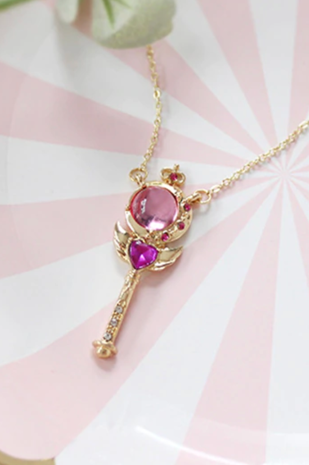 Crescent Moon Wand Cute Sailor Moon Inspired Pink Gold Pendant Necklace