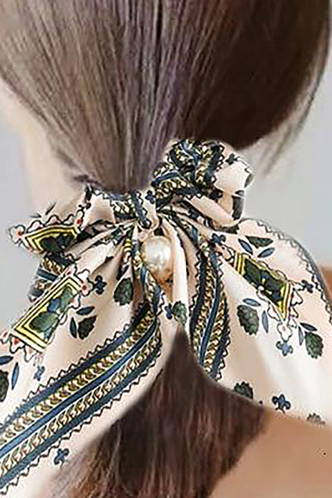 Belle Trending Satin Print Pearl Bow Tie Ribbon Scrunchie Hair Jewelry