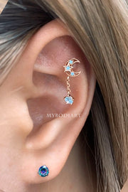 Titania Cute & Unique Dangle Moon Cartilage Helix Tragus Ear Piercing Jewelry Earring Stud 16G