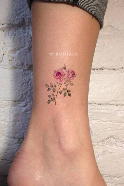 Cute Small Watercolor Pink Ankle Tattoo Ideas for Women -  pequeñas ideas de tatuajes de flores para mujeres - www.MyBodiArt.com