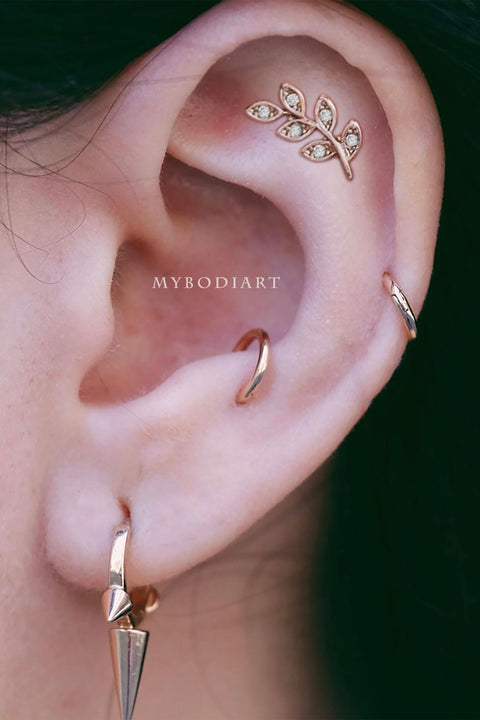 Cute Leaf Cartilage Helix Ear Piercing Jewelry Ideas for Women - www.MyBodiArt.com #piercings #earpiercings