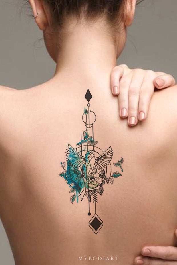 Beautiful Blue Watercolor Hummingbird Arrow Back Spine Tattoo Ideas for Women -  ideas de tatuajes de acuarela de aves para mujeres - www.MyBodiArt.com #tattoos