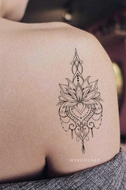 Beautiful Boho Tribal Lotus Floral Flower Linework Temporary Shoulder Tattoo Ideas for Women - www.MyBodiArt.com