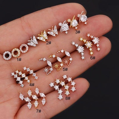 Cute Celestial Star Ear Piercing Earring Studs 16G for Cartilage Helix Conch Tragus Earring Studs - www.MyBodiArt.com