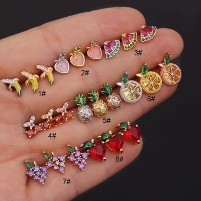 Colorful Fruit Ear Piercing Earring Studs for Cartilage Helix Conch Tragus Piercings - www.MyBodiArt.com