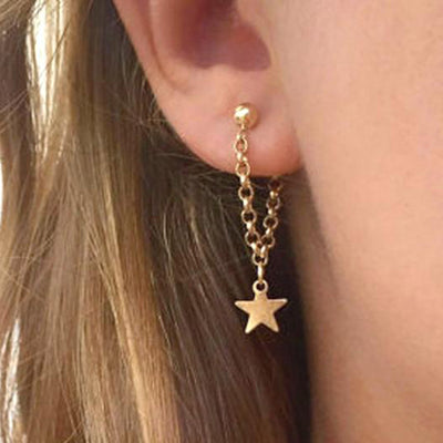 Cute Unique Chain Star Dangle Earrings for Women Fashion Jewelry -  pendientes de estrellas de oro - www.MyBodiArt.com