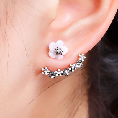 Flower Ear Jacket Cuff Earring in Silver at MyBodiArt.com