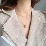 Rigel Double Layered Heart Pearl Gold Chain Choker Necklace