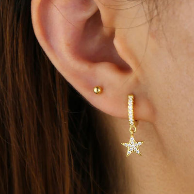 Ear Piercing Ideas Crystal Pave Star Huggie Hoop Earrings Fashion Jewelry for Teen Girls for Women - www.MyBodiArt.com  #earrings