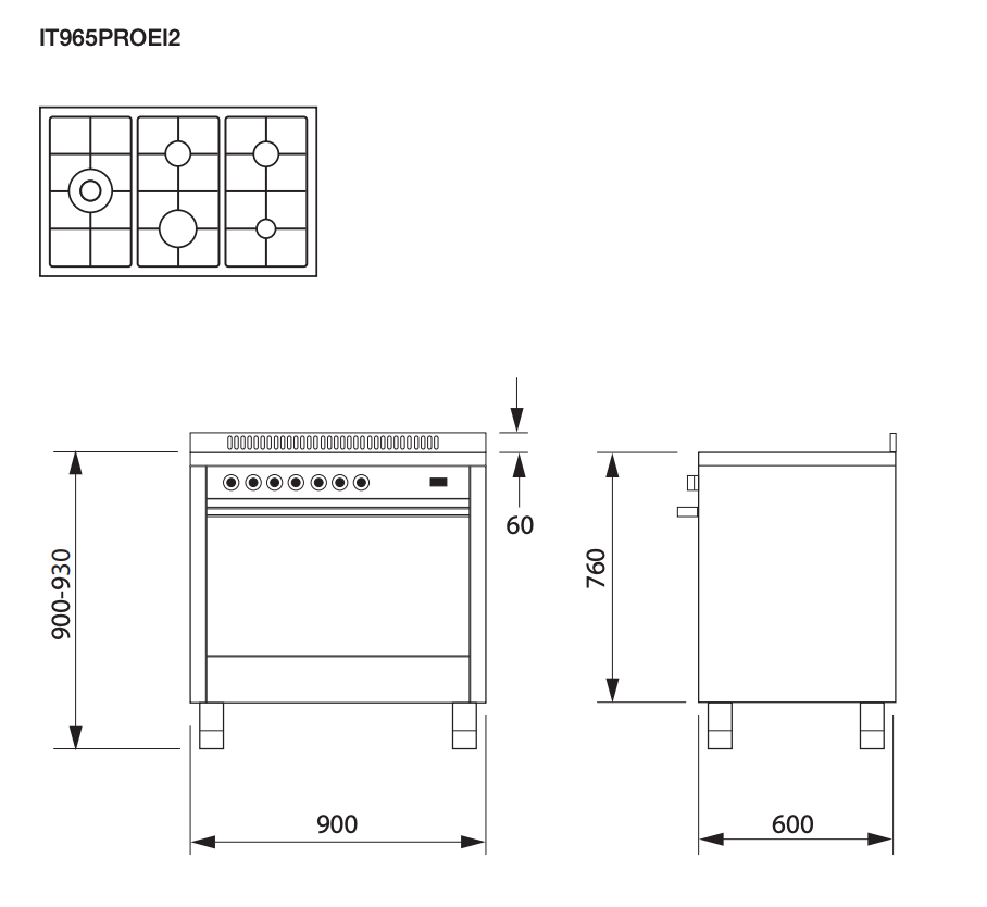 Glem 90cm Black Gas Cooker IT965PROEN2 dimensions