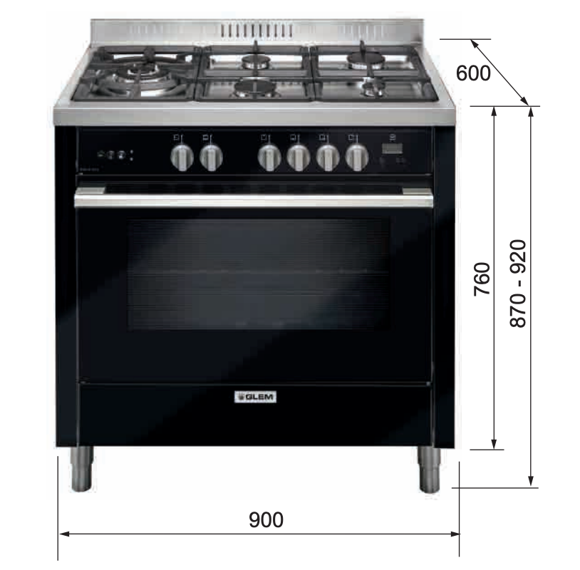 Glem 90cm Black Gas Cooker IT965MVN2 dimensions